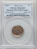 Errors, 1944 1C Lincoln Cent -- Struck 15% Off Center -- MS64 Brown PCGS....