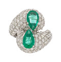 Estate Jewelry:Rings, Emerald, Diamond, White Gold Ring The bypass ...