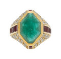 Estate Jewelry:Rings, Emerald, Diamond, Ruby, Gold Ring The ring fe...