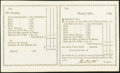 Colonial Notes:Connecticut, Connecticut Treasury Office Unissued, Double-Paned Transfer Certificate 1789 Remainder Anderson CT-27. Choice Crisp Uncirculat...