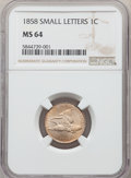 Flying Eagle Cents: , 1858 1C Small Letters MS64 NGC. NGC Census: (282/87). PCGS Population: (356/118). CDN: $1,400 Whsle. Bid for NGC/PCGS MS64....