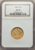1852-C $5 AU50 NGC. NGC Census: (19/133). PCGS Population: (25/83). CDN: $2,500 Whsle. Bid for NGC/PCGS AU50. Mintage 72...
