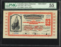 Colombia Banco Industrial 2 Pesos 1905 Pick S552s Specimen PMG About Uncirculated 55