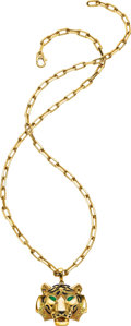 Estate Jewelry:Necklaces, Colored Diamond, Emerald, Gold Necklace, Cartier, French