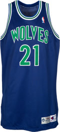 Basketball Collectibles:Uniforms, 1995-96 Kevin Garnett Game Worn & Signed Minnesota Timberwolves Jersey & Trunks Photomatched to 3/23/96 vs. Rockets - Rookie S...