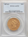 Liberty Eagles: , 1874-S $10 AU53 PCGS. Pop (5/9), CDN Collector Price ($6880.00), CAC (2/2)
