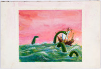Robert Blanchard (attributed) - Sea Monster Illustration Original Art (undated)