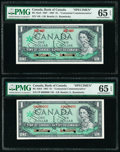 Canada Bank of Canada $1 1967 BC-45aS; BC-45bs Commemorative Specimen Pair PMG Gem Uncirculated 65 EPQ (2)