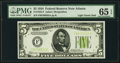 Small Size:Federal Reserve Notes, Fr. 1955-F $5 1934 Light Green Seal Federal Reserve Note. PMG Gem Uncirculated 65 EPQ.. ...