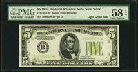 Fr. 1955-B* $5 1934 Light Green Seal Federal Reserve Note. PMG Choice About Unc 58 EPQ