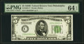 Fr. 1952-C* $5 1928B Federal Reserve Note. PMG Choice Uncirculated 64 EPQ