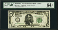 Fr. 1951-F $5 1928A Federal Reserve Note. PMG Choice Uncirculated 64 EPQ