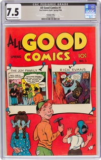 All Good Comics #1 Carson City Pedigree (Fox, 1946) CGC VF- 7.5 Off-white to white pages