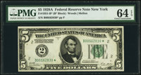 Fr. 1951-B* $5 1928A Federal Reserve Note. PMG Choice Uncirculated 64 EPQ
