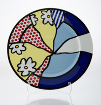 Roy Lichtenstein (1923-1997) Untitled, c. 1990 Ceramic plate in colors with glazing 12-1/4 inches