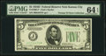 Fr. 1960-J* $5 1934D Federal Reserve Note. PMG Choice Uncirculated 64 EPQ