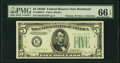 Small Size:Federal Reserve Notes, Fr. 1960-E* $5 1934D Federal Reserve Note. PMG Gem Uncirculated 66 EPQ.. ...
