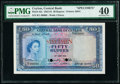 Ceylon Central Bank of Ceylon 50 Rupees 3.6.1952 Pick 52s Specimen PMG Extremely Fine 40