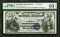 National Bank Notes:Pennsylvania, Pittsburgh, PA - $20 1882 Date Back Fr. 552 The Duquesne National Bank Ch. # (E)2278 PMG Choice Uncirculated 63 EPQ....