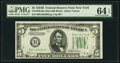 Small Size:Federal Reserve Notes, Fr. 1958-B $5 1934B Mule Federal Reserve Note. PMG Choice Uncirculated 64 EPQ.. ...