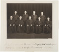 Autographs:Statesmen, Harlan Stone Supreme Court Photograph Signed By All Nine Justices....