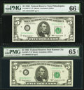 Small Size:Federal Reserve Notes, Fr. 1967-C*; J* $5 1963 Federal Reserve Star Notes. PMG Graded Gem Uncirculated 66 EPQ; Gem Uncirculated 65 EPQ.. ... (Total: 2 notes)