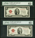Small Size:Legal Tender Notes, Fr. 1506 $2 1928E Legal Tender Note. PMG Gem Uncirculated 65 EPQ;. Fr. 1507 $2 1928F Legal Tender Note. PMG Gem Uncirculat... (Total: 2 notes)