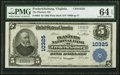 Fredericksburg, VA - $5 1902 Plain Back Fr. 603 The Planters National Bank Ch. # 10325 PMG Choice Uncirculated 64 EPQ...