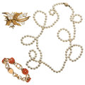 Estate Jewelry:Lots, Cultured Pearl, Coral, Gold Jewelry. ... (Total: 3 Items)