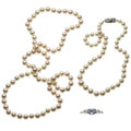 Estate Jewelry:Necklaces, Cultured Pearl, Diamond, Sapphire, White Gold, Silver Necklaces. ... (Total: 3 Items)