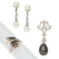 Estate Jewelry:Lots, Cultured Pearl, Diamond, Sapphire, White Gold Jewelry. ... (Total: 3 Items)