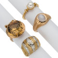 Estate Jewelry:Rings, Diamond, Multi-Stone, Gold Rings. ... (Total: 4 Items)