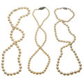Estate Jewelry:Necklaces, Cultured Pearl, Gold, Silver Necklaces. ... (Total: 3 Items)