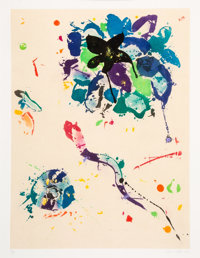 Sam Francis (1923-1994) Untitled, 1990 Aquatint with monotype in colors on Chine collé to Twinrocker