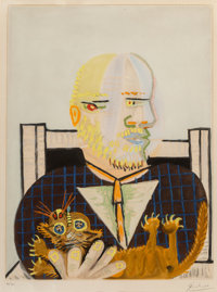Pablo Picasso (1881-1973) Vollard et son chat, c. 1960 Aquatint in colors on BFK paper 23-5/8 x 1