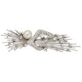 Estate Jewelry:Brooches - Pins, Diamond, Cultured Pearl, White Gold Brooch, Andreoli. ...