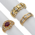 Estate Jewelry:Rings, Diamond, Ruby, Gold Rings. ... (Total: 3 Items)