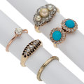 Estate Jewelry:Rings, Diamond, Turquoise, Cultured Pearl, Gold Rings. ... (Total: 5 Items)