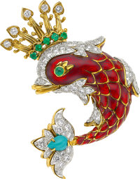 Diamond, Emerald, Turquoise, Enamel, Platinum, Gold Brooch, David Webb