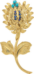 Estate Jewelry:Brooches - Pins, Sapphire, Turquoise, Gold Brooch, David Webb. ...