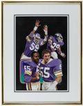 Football Collectibles:Others, Early 1980s Framed Minnesota Vikings Original Artwork....