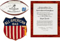 Football Collectibles:Others, 1943 Heisman Trophy Presentational Plaque, Heisman Pin, All American Patch and Facsimile Football from Angelo Bertelli Collect... (Total: 3 items)