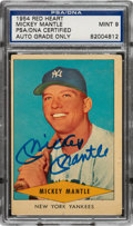 Autographs:Sports Cards, Signed 1954 Red Heart Mickey Mantle PSA/DNA Auto Mint 9.