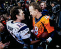 Football Collectibles:Photos, 2000's Tom Brady and Peyton Manning Signed Oversized Photograph....