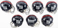 Autographs:Others, New York Giants Signed Miniature Helmets, Lot of 7.