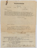 Autographs:Others, World War I Wooden Lap Top Desk with FDR Signed Document. ...