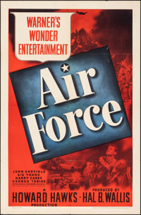 "Air Force (Warner Bros., 1943). Folded, Fine+. One Sheet (27"" X 41""). War"