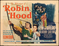 "The Adventures of Robin Hood (Warner Bros., R-1948). Folded, Fine. Half Sheet (22"" X 28"") Style B. Swashbuckle..."