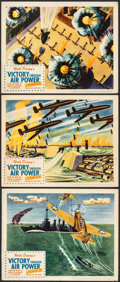 "Movie Posters:War, Victory Through Air Power (United Artists, 1943). Fine/Very Fine. Lobby Cards (3) (11"" X 14""). War.. ... (Total: 3 Items)"