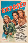 "Movie Posters:Crime, Exposed (Republic, 1947). Folded, Fine+. One Sheet (27"" X 41""). Crime.. ..."